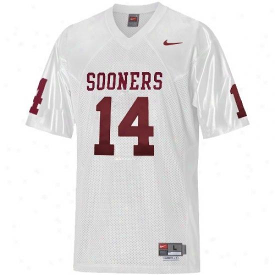 Oklahoma So0ne rJersey : Nike Oklahoma Sooner #14 White Twilled Football Jerdey