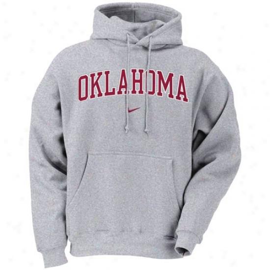 Oklahoma Sooner Sweatshirt : Nike Oklahoma Sooner Ash Classic College Pullover Sweatshirt
