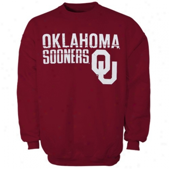 Oklahoma Sooner Sweatshirt : Oklahoma Sooner Youth Crimson Distressed Crew Sweatshirt