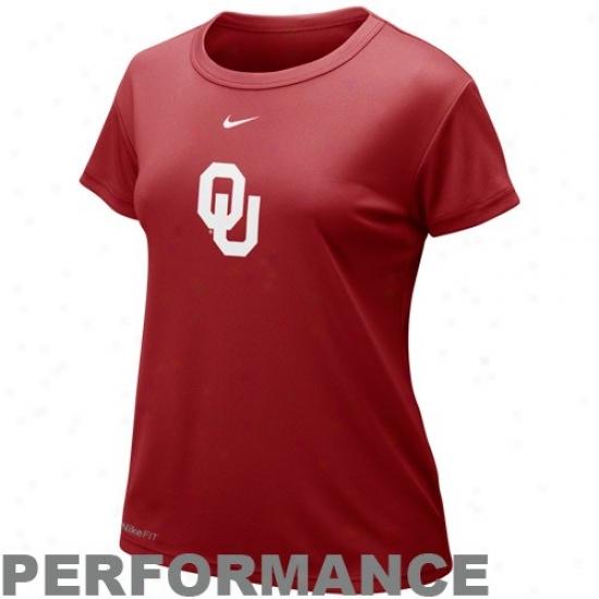 Oklahoma Soonrr T Shirt : Nike Oklahoma Sooner Ladies rCimson Nikefit Logo Performance T Shirt