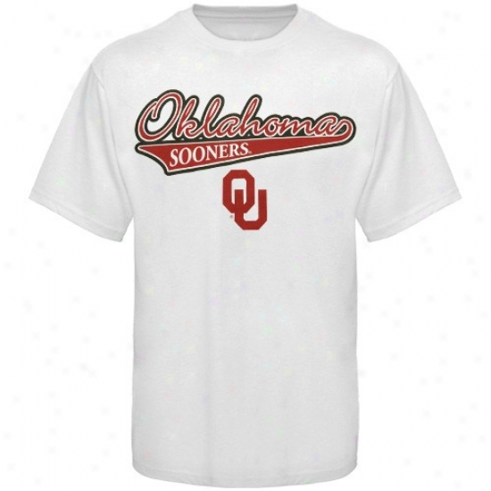 Oklahoma Sooner T-shirt : Oklahoma Sooner Yoouth White Slant Script T-shirt