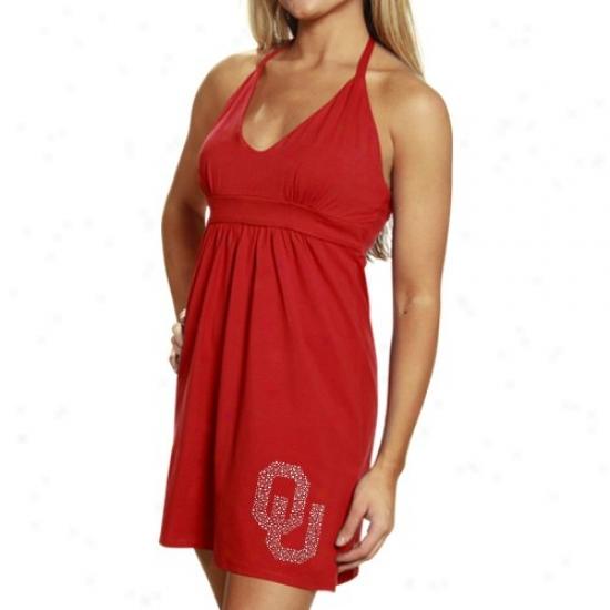 Oklahoma Sooners Apparel: My U Oklahoma Sooners Ladies Crimson Rhinestone Halter Sundress