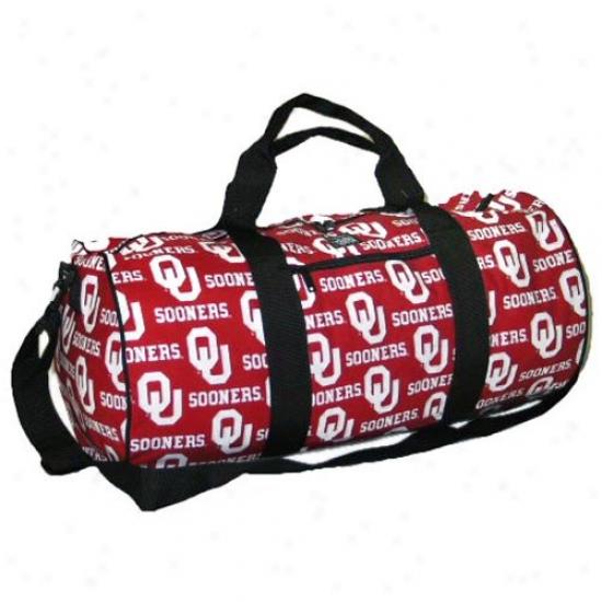 Oklahoma Sooners Crimson All-over Logo Duffel Bag