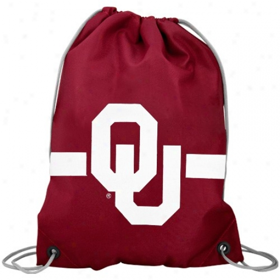 Oklahoma Sooners Crimson Team Logo Drawstring Backpack