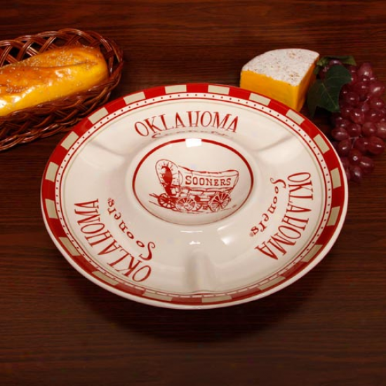 Oklahoma Sooners Gameday Chip & Dip Serving Tray