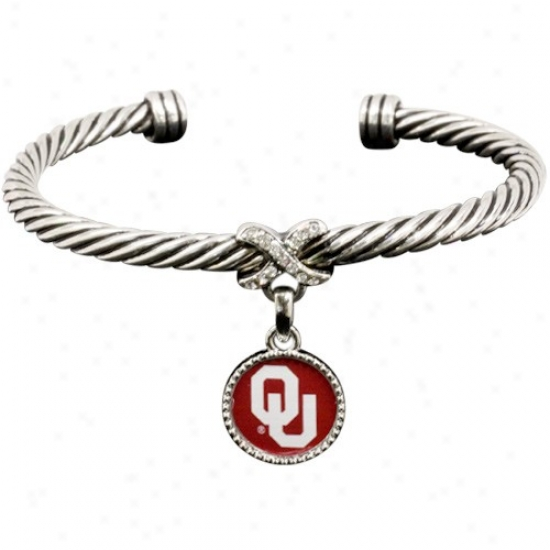 Oklahoma Soiners Ladies Antiqued Siilver Twisted Cable Bracelet