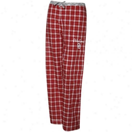 Oklahoma Sooners Ladies Crimson Plaid Heritage Woven Pajama Pants