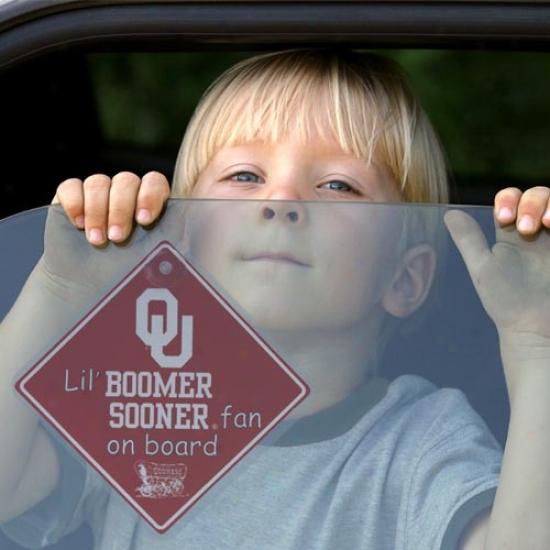 Oklahoma Sooners Lil' Fan On Board Car Sign