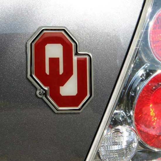 Oklahoma Sooners Team Logo Color Chrome Auto Emblem