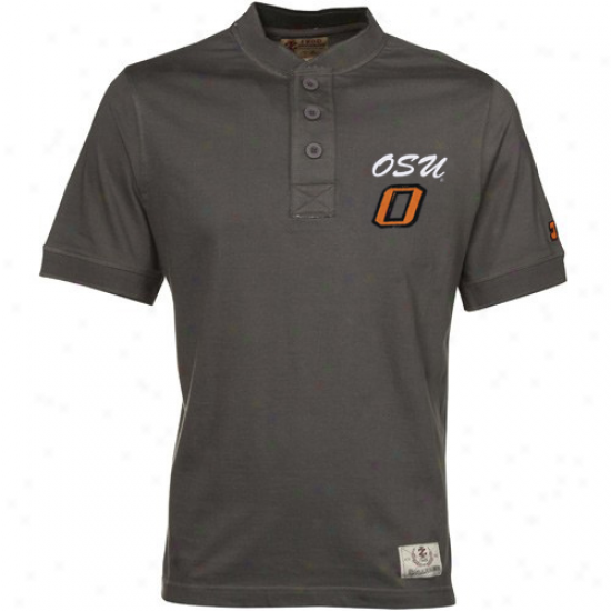Oklahoma State Cowboys Apparel: Izod Oklahoma State Cowboys Charcoal Standing Collar Premium Henley T-shirt