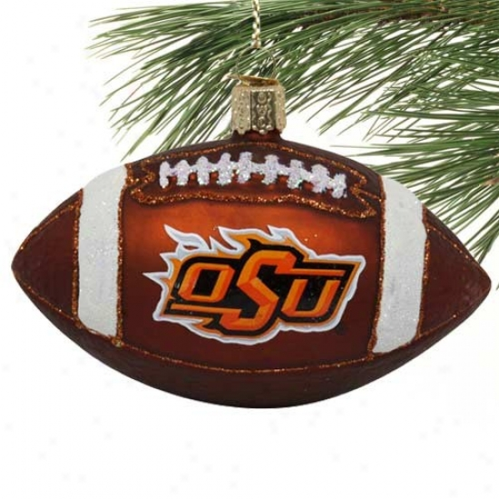 Oklahoma State Cowboys Glass Football Ornment