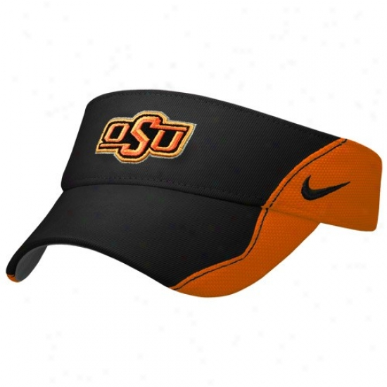 Oklahoma State Cowboys Hats : Nike Oklahoma State Cowboys Black-orange Sideline Adjustable Visor