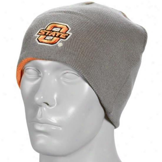 Oklahoma State Cowboys Hats : Oklahoma Rank Cowboys Gray-orange Forge Reversible Knit Beanie