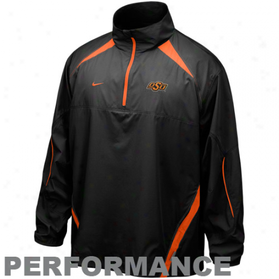 Oklahoma State Cowboys Jackets : Nike Oklahoma State Cowboys Charcoal Increase twofold Coverage Quarter Zip Playing Jackets