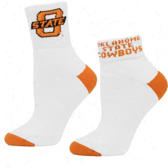 Oklahoma State Cowboys Ladies White Press Down Socks