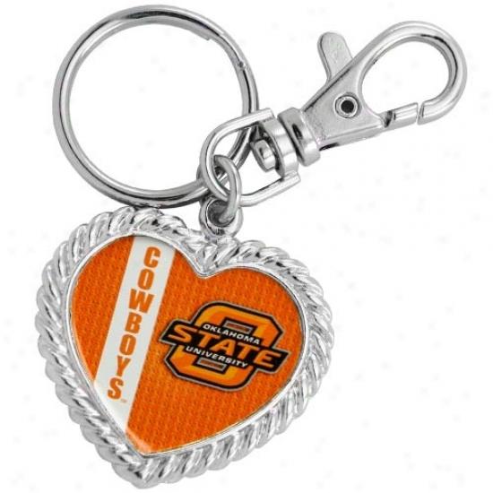 Oklahoma State Cowboys Silvertone Heart Keychain