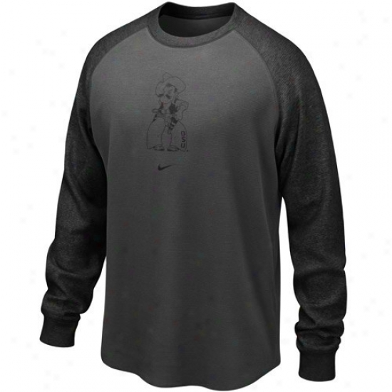 Oklahoma State Cowboys Tshirt : Nike Oklahoma Express  Cowboys Black Waffle Long Sleeve Crew Top