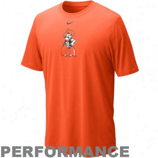 Oklahoma State Cowboys Tshirt : Nike Oklahoma State Cowboys Orange Legend Logo Playing Tshirt