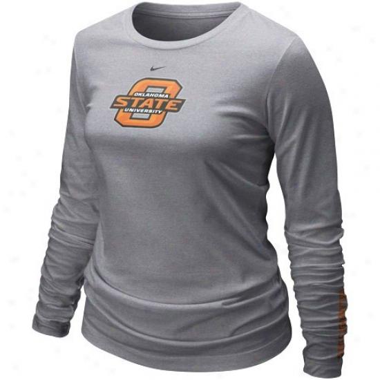 Oklahoma State Cowboys Tshirt : Nike Oklahoma State Cowboys Ladies Ash 2010 Classic Logo Long Sleeve Tshirt