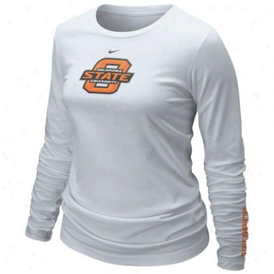 Oklahoma State Cowboys Tshirts : Nike Oklahoma State Cowboys Laddies White 2010 Classic Logo Long Sleeve Tshirts