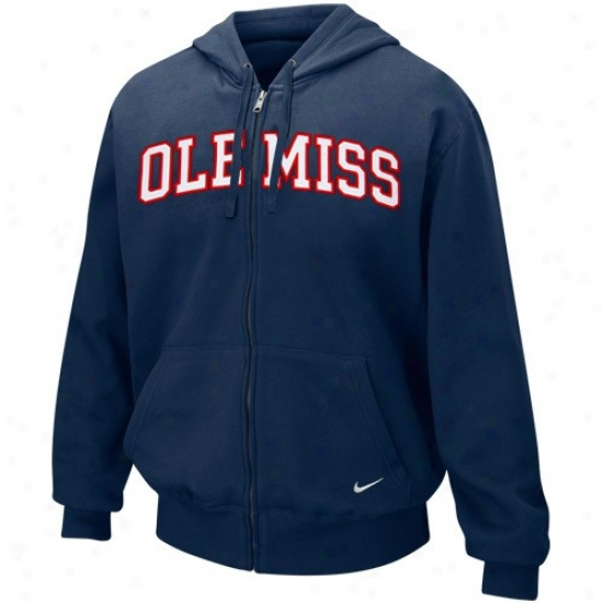 Ole Miss Rebels Clip : Nike Mississippi Rebels Ships of war Blue Classic Tackle Twill Full Zip Fleece