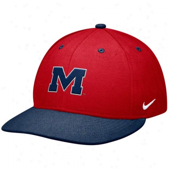 Ole Miss Rebels Hat : Nike Mississippi Rebels Cardinal-navy Blue Baseball Authentic 643 Fitted Hat
