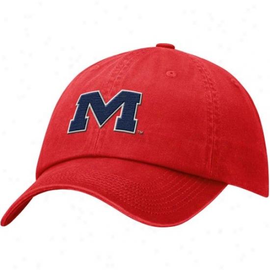 Ole Miss Rebels Hats : Nike Mississippi Rebels Cardinal Faded Swoosh Flez Hats