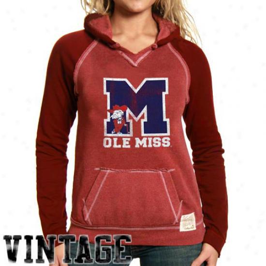 Ole Miss Rebels Hoosys : Original Retro Brand Mississippi Rebeks Ladies Cardinal 2-toned Hoodys