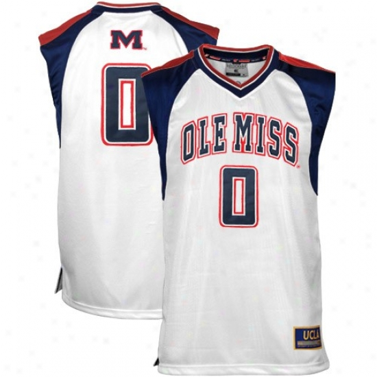 Ole Miss Rebels Jersey : Mississippi Rebels #0 Youth White Courtside Basketball Jersey