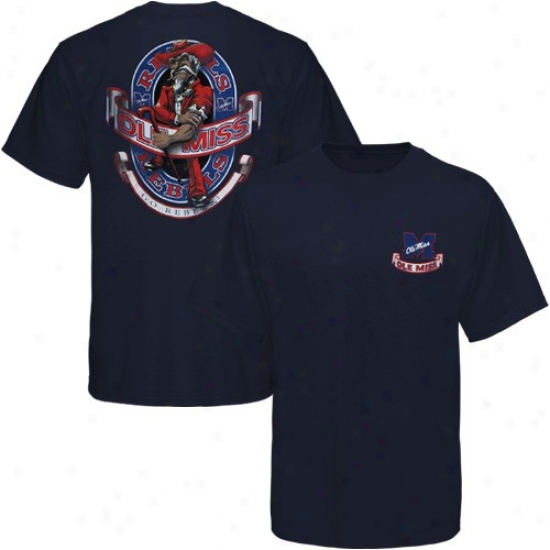 Ole Miss Rebels Shirt : Mississippi Rebels Navy Blue Banner Mascot Shirt