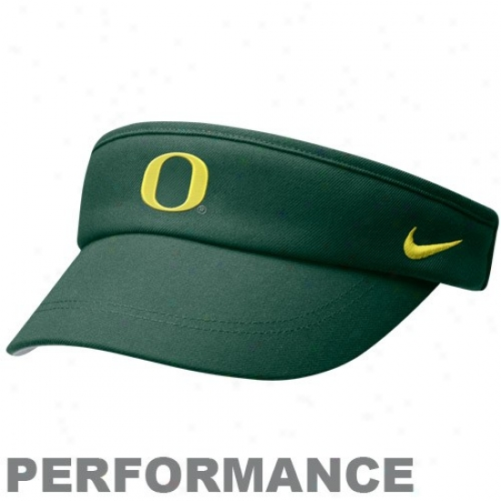 Oregon Duck Hats : Nike Orregon Duck Green 2010 Coaches Performance Adjustable Visor
