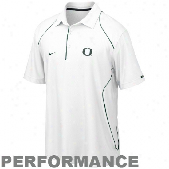 Oregon Duck Polos : Nike Oregon Duck White 2010 Snap Count Coaches Sideline Performance Polos