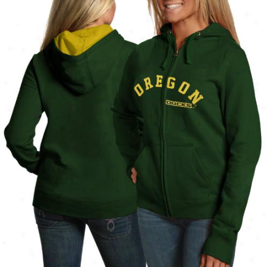 Oregon Duck Sweatshirts : Oregon Duck Ladies Green Arched Felt Full Zip Sweatshirts