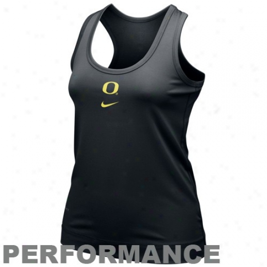 Oregon Duck Tshirt : Nike Oregon Duck Ladies Black Nikefit Racerback Performance Tank Top