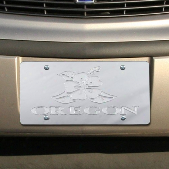 Oregon Ducks Silver Mirrored Hibiscus License Plate