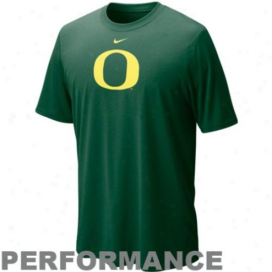 Oregon Ducks T-shirt : Nike Oregon Ducks Green Fable Logo Performance T-shirt