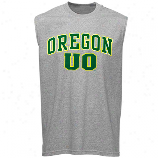 Oregon Ducks T Shirt : Oregon Ducks Ash Big Arch N' Logo Sleeveless T Shirt