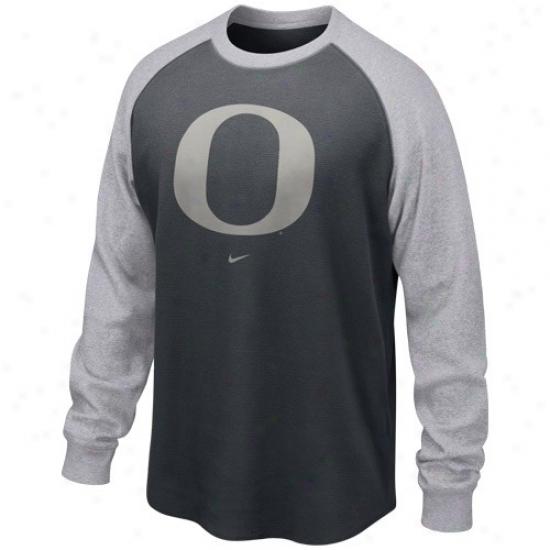 Orgon Ducks Tshirts : Nike Oregon Ducks Graphite-ash Washed Waffle Long Sleeve Thermal Tshirts