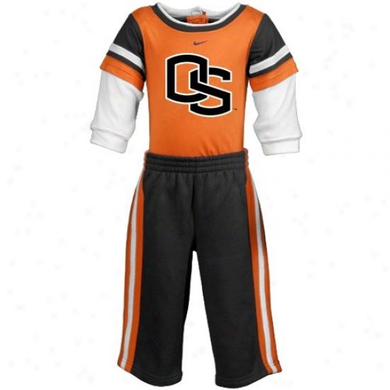 Oregon State Beaver Sweat Shirt : Nikee Oregon State Beaver Newborn Orange-black Creeper & Sweat Shirt Sweatpants 2-piece Gift Set