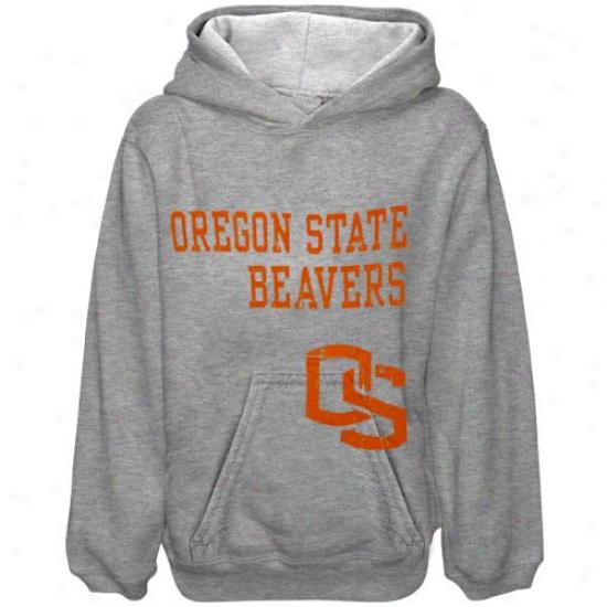 Oregon State Beaver Sweatshirt : Oregon State Beaver Yoth Ash Stacked Sweatshirt