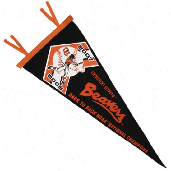 Oregon State Beavers Black 2007 Ncaa Men's College World Series Champions 12x30 Back To Back Pennant