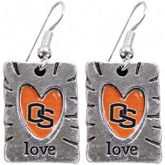 Oregon State Beavers Team Color Love Earrings
