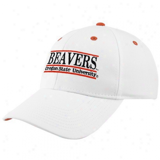Oregon State University Hats : The Game Oregon State University White 3-bar Nickname Adjustable Hats