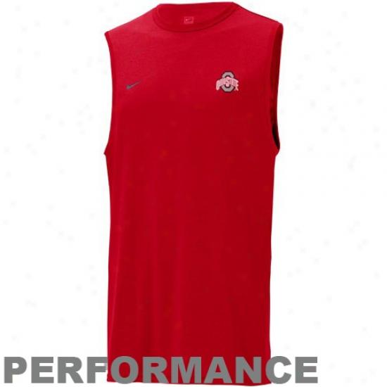 Osu Buckeye Shirts : Nike Osu Buckeye Scarlet Performance Sleeveless Shirts
