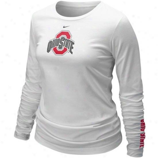 Osu Buckeye Tshirts : Nike Osu Buckeeye Ladies White 2010 Classic Logo Long Sleeve Tshirts