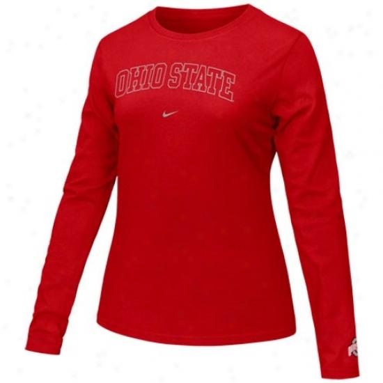 Osu Buckeyes T-shirt : Nike Osu Buckeyes Ladies Scarlet Arch Lettering Long Sleeve T-shirt