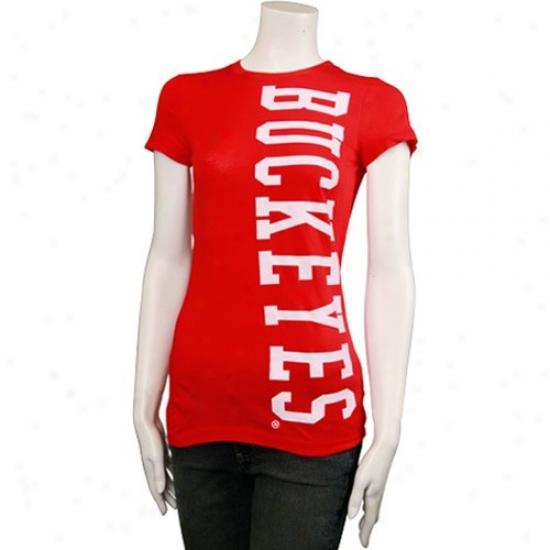 Osu Buckeyes Tee : My U Osu Buckeyes Ladies Scarlet Vintage Soft Long Logo Fitted Tee