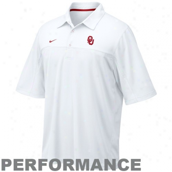 Ou Sooner Golf Shirts : Nike Ou Sooner White Nikefit Performance Golf Shirts
