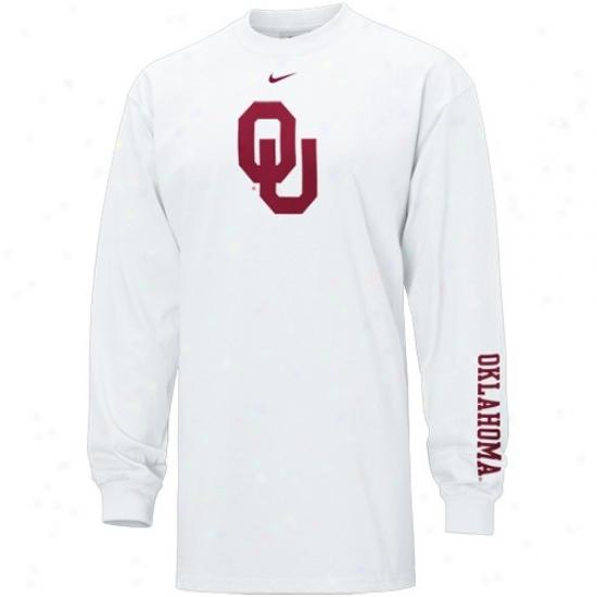 Ou Sooners Attire: Nike Ou Sooneds White Classic Logo Long Sleeve T-shirt