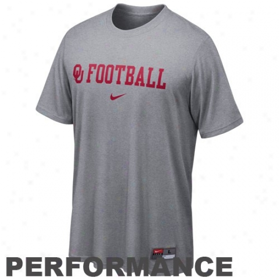 Ou Sooners Tshirts : Nike Ou Sooners Gray Conference Legend Heathered Performance Tshirts